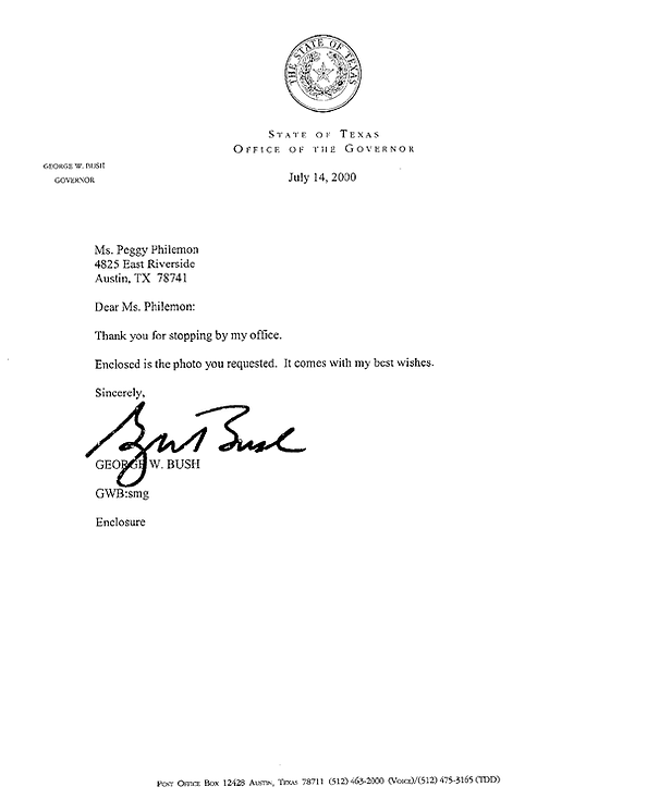 Letter from G. W. Bush