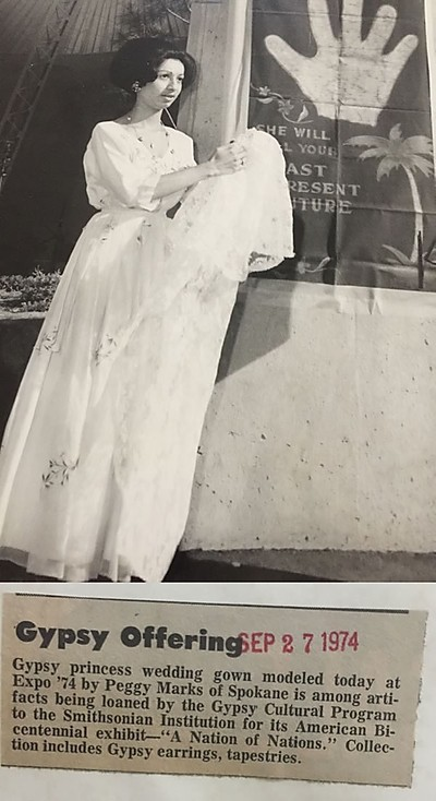 Newsarticle with picture of Peggy in her wedding dress